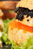 Caviar and other sandwiches Stock Photography