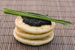 Caviar on pancake Royalty Free Stock Photography