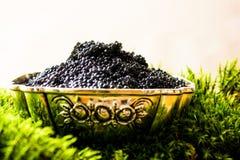 Caviar preto, aperitivo luxuoso da guloseima Fotos de Stock Royalty Free