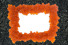 Caviar preto e vermelho isolado Vista superior foto de stock