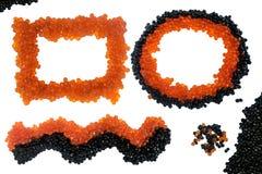 Caviar preto e vermelho isolado Vista superior imagens de stock
