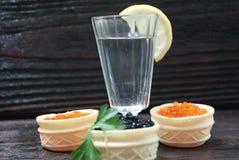 Caviar preto e vermelho para convidados e amigos Imagens de Stock Royalty Free