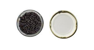 Caviar preto em um frasco em um branco Fotos de Stock Royalty Free