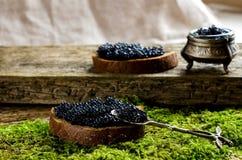 Caviar preto no pão escuro Fotos de Stock