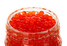 Caviar red in a glass jar isolated on white Stock Photo