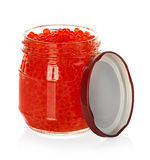Caviar red in a glass jar isolated on white Royalty Free Stock Images