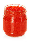 Caviar red in a glass jar isolated on white Stock Photos