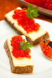 Caviar red sandwhich Royalty Free Stock Photo