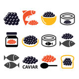 Caviar, roe, fish eggs icons set Stock Images