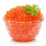 Caviar rojo en el tazón de fuente Imágenes de archivo libres de regalías