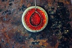 Caviar rojo en la placa Imágenes de archivo libres de regalías
