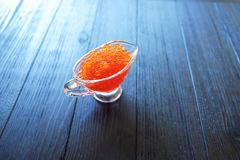 Caviar rojo en vidrio Fotografía de archivo libre de regalías