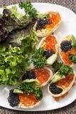 Caviar rojo y negro imagen de archivo libre de regalías