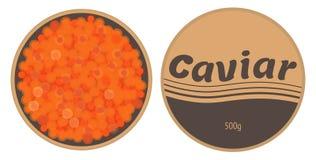 Caviar rouge dans un bidon avec un vecteur de couvercle Photo stock