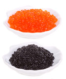 Caviar rouge et noir Images stock