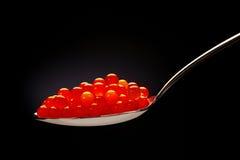 Caviar rouge sur la cuillère en acier photo libre de droits
