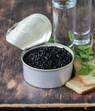 Caviar with rye bread and two shots vodka Royalty Free Stock Images