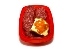 Caviar and salami. On a roll breakfast Royalty Free Stock Photo