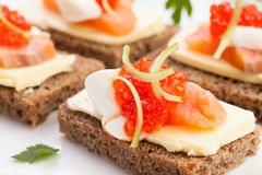Caviar salmon sandwiches Stock Photo