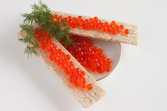 Caviar of a salmon and small loafs with caviar Stock Photo