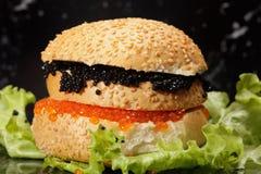 Caviar sandwich on lettuce Royalty Free Stock Photos