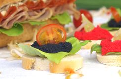 Caviar sandwiches Stock Photo