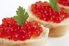 Caviar sandwiches detail Stock Photography