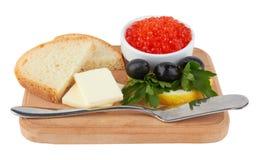 Caviar serido, com manteiga e brindes Imagem de Stock