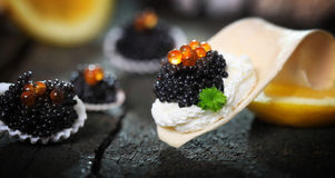 Caviar, served in shells Royalty Free Stock Photography