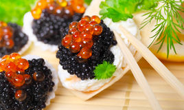 Caviar, served in shells Stock Image