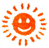 Caviar smiling sun. Funny caviar smiling sun for postcards or decoration royalty free stock photo