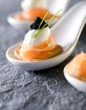 Caviar and Smoked Salmon Appetizers Royalty Free Stock Images