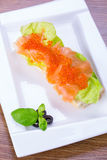 Caviar and smoked salmon sandwich Stock Photography