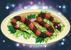 Caviar snake with lilly Royalty Free Stock Images