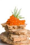 Caviar sur des chips Photographie stock libre de droits