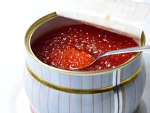 Caviar in a tin can Stock Photos