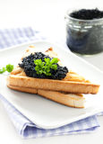 Caviar on toast Stock Photography