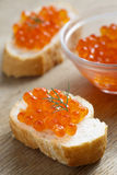 Caviar on toasts Stock Images