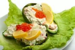 Caviar vermelho com abacate e salada Imagens de Stock Royalty Free