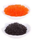 Caviar vermelho e preto Imagens de Stock