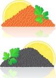Caviar vermelho e preto com limão e salsa Foto de Stock