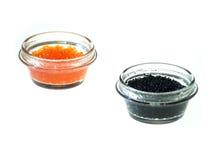 Caviar vermelho e preto dos peixes Imagens de Stock Royalty Free