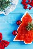 Caviar vermelho na tabela do Natal Imagem de Stock