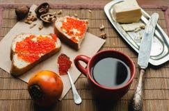 Caviar y coffe Mañana Imagen de archivo libre de regalías
