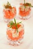 Caviar y salmones rojos Imágenes de archivo libres de regalías