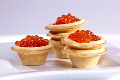 Caviare. Food series: red caviar for a taste Stock Photos
