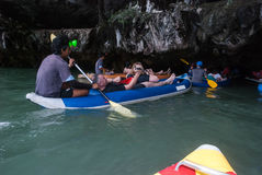 Caving with Canoe. Caving in Thailand Phang Nga Area royalty free stock photography