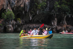 Caving with Canoe. Caving in Thailand Phang Nga Area stock image