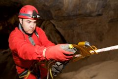 Caving in Spain. Stock Images