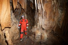 Caving in Spain. Caving in Acederal Cave, Zaragoza Province, Aragon, Spain stock photos